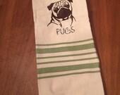 Dish towel - Pug - machine embroidered
