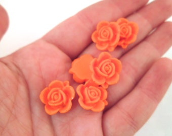 10 15mm Orange Rose Cabochons, Orange Flower Cabochons