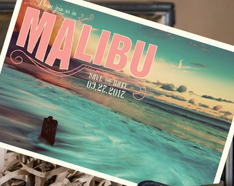 Vintage Postcard Save the Date (Malibu, CA) - Design Fee
