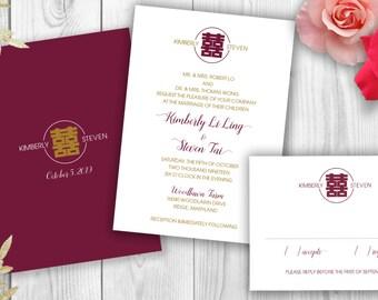 Modern Style Double Happiness Wedding Invitation