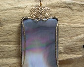 Amazing Big Black Mother-of-Pearl Wirewrapped Pendant