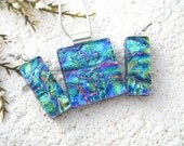 Blue Pink Gold Necklace Set, Dangle Drop Earrings, Fused Glass Jewelry, Dichroic Jewelry, Blue & Pink Set, Glass Jewelry, 021416ps100