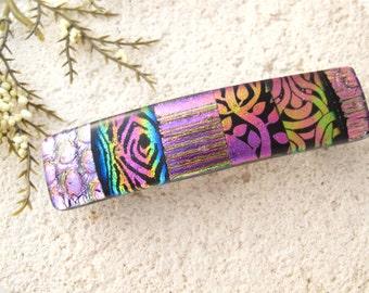 Medium Barrette, OOAK, Pink Rainbow, Dichroic Barrette, Hair Barrette, French Barrette. Fused Glass Barrette, Pink Hair Clip, 060316ba107