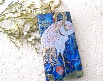Exotic Bird Crane, Dichroic Necklace, Fused  Glass Necklace, Dichroic Glass Pendant, Fused Glass Jewelry, Dichroic Jewelry,   060316p103