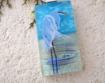 Heron Necklace, Dichroic Blue Heron,Silver Necklace,  Dichroic Jewelry, Fused Glass Jewelry, Bird Necklace,Dichroic Jewelry, 092017p100