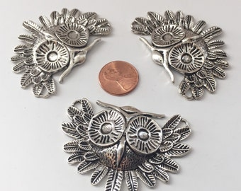 THREE Large Silver Owl Pendants