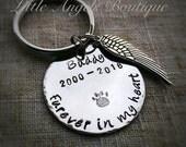 Furever in my Heart Loss of Pet Remembrance Memorial Custom Hand Stamped Keychain pet memorial
