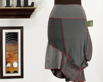bunchy asymmetric upcycled skirt in gray and red