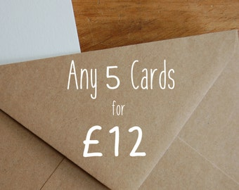 Any 5 cards - great value greeting card pack