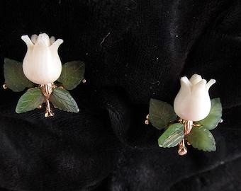 Vintage Swoboda Carved Jade Flower Clip Earrings