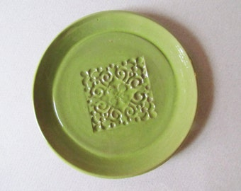 One Tea Bag Holder, Spoon Rest,  Ring Dish, Chartreuse Glaze