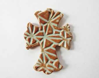 Embossed Cross Ornament - ceramic clay - handmade - ready to mail - Rustic green