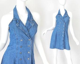 Sz 4 90s Double Breasted Denim Dress - Vintage Women's Racerback Princess Seam Blue Jean Mini Dress