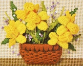 """Spring Flowers Needlepoint Kit – vintage Sunset Designs Jiffy Basket Full of Daffodils, Betty Miles printed canvas 80s pattern, small 4 x 5"""""""