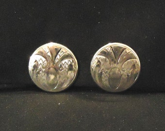 Vintage Round Pressed Silver Clip Earrings