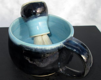 Shaving Kit in Iridescent Black and Turquoise Blue