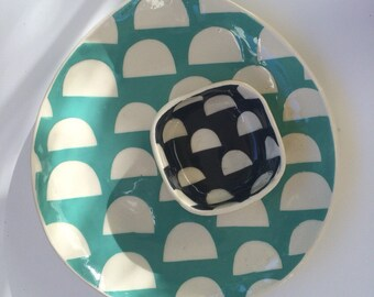 Plate teardtrop shaped with Dots pattern-- blue green