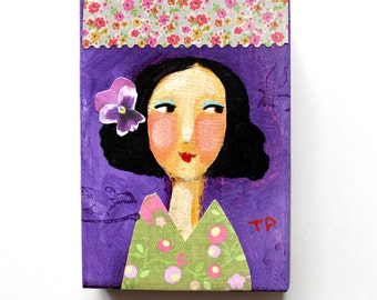 ORIGINAL acrylic painting Happy New Year Girl Violet fresh art for 2016 mixed media collage portrait painting ACEO mini art by Tascha