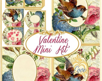 Victorian Valentine Mini Kit forCards, Scrapbooks, Journals INSTANT DOWNLOAD Digital Printable