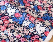 Japanese Fabric rayon linen blend - floral pink, blue - 50cm