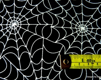 """One Yard Cut Quilt Fabric, Halloween, (GLOW IN the DARK) """"Spider Web"""", Timeless Treasures, Sewing-Quilting-Craft Supplies"""