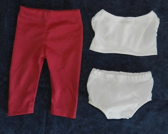 Package of 3 assorted Pink Leggings, with Short White Knit top and Panties fit most 18 inch Dolls
