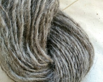 Handspun wool yarn, natural grey. for knitting, crochet, weaving, and textiles
