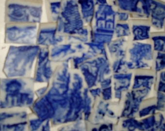 VintageSupplies -Flow Blue- Mosaic Tiles  Pieces- Shades of Flow Blue Tile Pieces-Pictures of People-Animals- Houses-Broken-Plate Pieces.