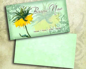 Yellow Crown Imperial Flower Business Card Template INSTANT DOWNLOAD 3.5 x 2 Inches Calling Card Vintage Flowers (BC2)