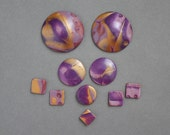 10 Ten Polymer Clay beads set.  Not drilled Cabochons. Mokume gane. Jewelry Components Disk Round Domed Boho Lightweight Purple Gold