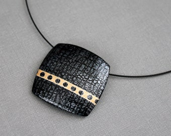 Contemporary Jewelry Statement Art pendant necklace Choker Abstract Square Neck wire Black gold silver Solitaire Polymer clay Texture