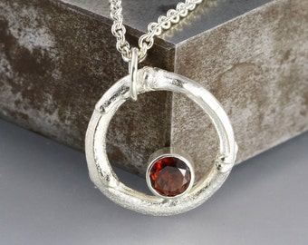 Silver Twig Pendant - Red Stone Necklace - Garnet - January Birthstone - Organic Jewelry - Bridesmaid Gift - Natural Wedding - Ready to Ship