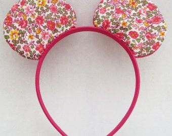 Mouse Ear Headband - Floral Print Mouse Ears - Costume Ears - Costume Accessory - Animal Headband