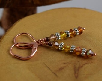 AMBER HONEY golden copper Les Petite Cristaux Swarovski crystals handcrafted earrings gorgeous and still affordable