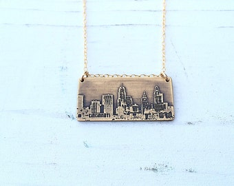Cincinnati Ohio city skyline necklace | Cincinnati skyline pendant in copper or brass | jewelry for her