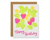 Strawberry Birthday Letterpress Card