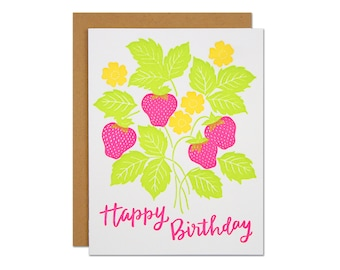 Strawberry Birthday Card / Letterpress Greeting Card