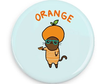 Cute Pin Back Button Kawaii Fruit Orange Cat Magnet Mirror Pinback Button Flair Pin Game Super Kawaii Pin Badge