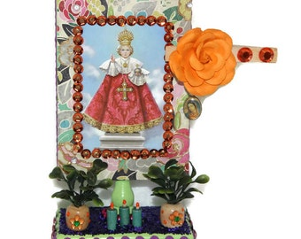 Infant Jesus of Prague Altar/Santo Niño Jesús de Praga/Mexican Shrine/Ofrenda/Dia de los Muertos/Day of the Dead/Catholic Prayer Card