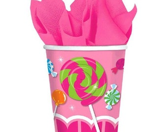 8ct. Candy Shop Sweet Treats Party Paper Cups 9 oz.-NEW