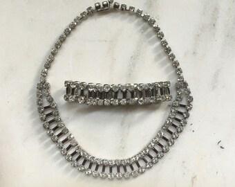 Vintage Jewelry Set, Necklace, Bracelet, Parure, Double Strand Rhinestones, Purple Glass Spacers, Choker, Wide Bracelet, Case, 1950s