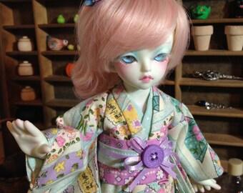 Fans and Lanterns Kimono and obi for 1/6th 26cm YOSD BJD