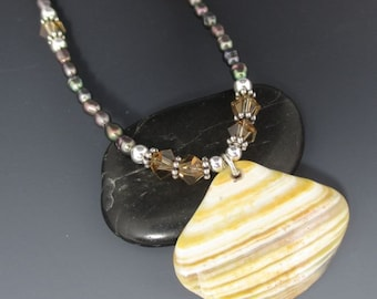 Shell Fragment Freshwater Pearl Swarovski Crystal Sterling Silver Necklace