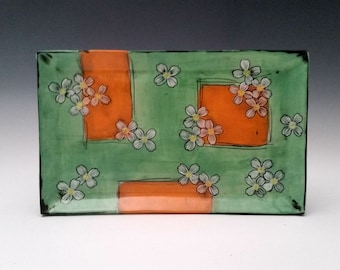 In Stock:Square Ceramic Serving Plate with Dogwood Flowers Sushi Plate Appetizer Plate