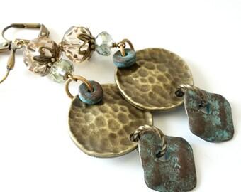 Long Dangle Earrings, Hammered Antique Brass, Mykonos Greek Drops, Crystals, Bohemian, Boho Chic, Beaded Jewelry, Beaded Earrings, OOAK