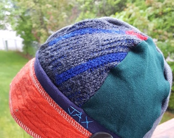 Small medium Jax Hats, orange and multi sweater hat, upcycled hat, recycled clothing hat, chemo hat, newsboy cap, flapper, multicolored hat