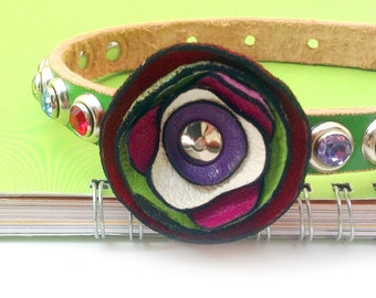 Green Leather Dog Collar with One Offset Colorful Flower & Gems, Dog Collar Leather, Small Dog Collar, Size XS/S, to fit a 8-11in Neck, OOAK
