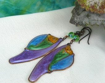 Butterfly Wing Earrings ~ Resin Butterfly Wings ~ Butterfly Earrings ~ Wire Wrapped Butterfly Earrings ~ Colorful Earrings ~ Resin Earrings