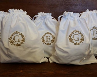 5 Custom Monogrammed - Embroidered Cotton Drawstring Shoe Bags
