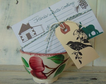 Recipe Card Set Of 10, Moose And Cabin, Cooking, Illustration, Lodge, Nicely Packaged For Gift Giving, Animals, Wildlife, Art